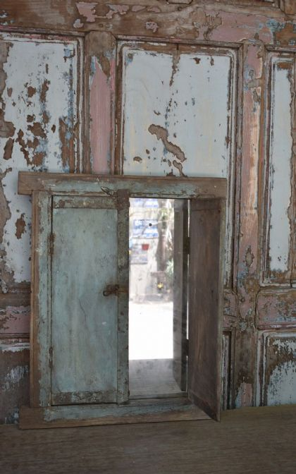 Old Tribal Shutter Mirror with faded Blue Paint, Kutch
